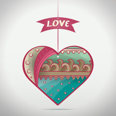 Cartoon Patterned Love Heart
