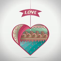 Cartoon Patterned Love Heart