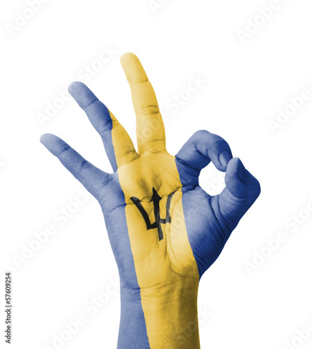 Hand making Ok sign, Barbados flag painted