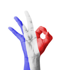 Hand making Ok sign, Guadeloupe flag painted
