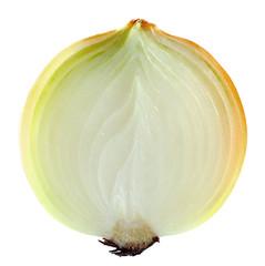 sliced  onion on white background