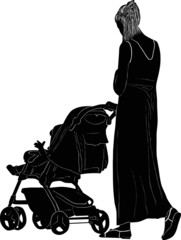 woman and carriage silhouette on white