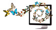 butterfly flying out from computer