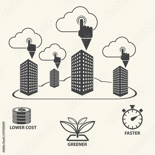 Finger pointing to The cloud. Cloud computing concept. Vector
