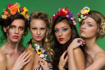 Beautiful girls wearing flower accessories