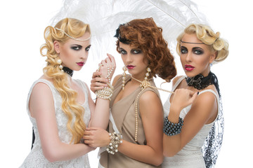 Three beautiful retro style girls