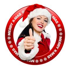 Merry X-Mas Button mit Topdaumen