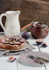Fig homemade tart on old wood table