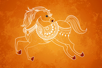 vector illustration of Horse in New Year background