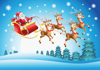 Santa Claus in his sleigh flying