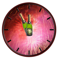 Clock with bottle of champagne waiting for midnight