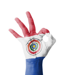 Hand making Ok sign, Paraguay flag painted