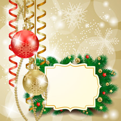 Christmas background with baubles and label