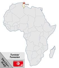 Inselkarte von Tunesien mit Hauptstädten in Pastelorange
