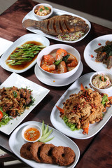 Set of Thai food menu