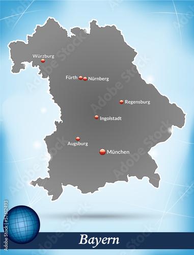 Inselkarte von Bayern Abstrakter Hintergrund in Blau
