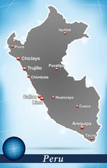 Inselkarte von Peru Abstrakter Hintergrund in Blau