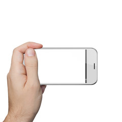 isolated male hand holding a white phone tablet touch