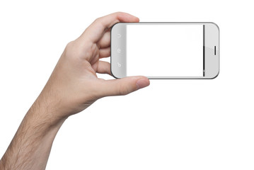 isolated male hand holding a white phone isolated screen