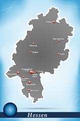 Inselkarte von Hessen Abstrakter Hintergrund in Blau