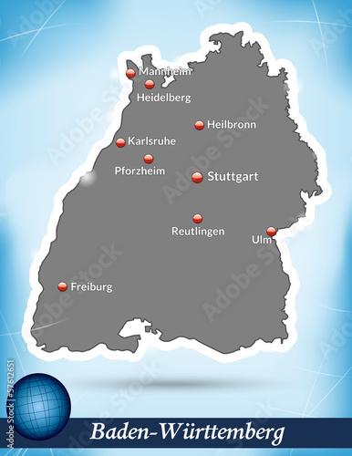 Inselkarte von Baden-Wuerttemberg Abstrakter Hintergrund in Blau