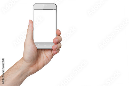 isolated male hand holding a white phone isolated