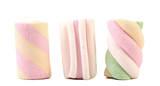 Fototapety Three different colorful marshmallow. Close up.