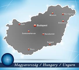 Inselkarte von Ungarn Abstrakter Hintergrund in Blau