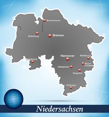 Inselkarte von Niedersachsen Abstrakter Hintergrund in Blau