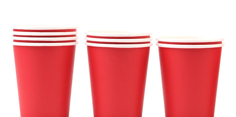 Three red paper cups