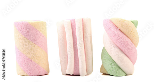 Three different colorful marshmallow. Close up.