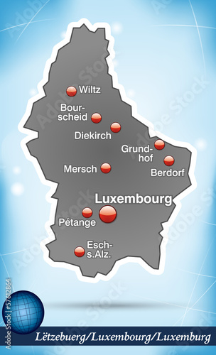 Inselkarte von Luxemburg Abstrakter Hintergrund in Blau