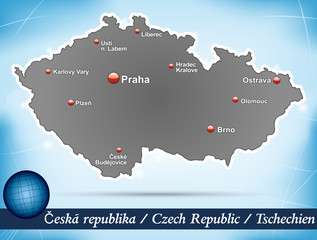 Inselkarte von Tschechien Abstrakter Hintergrund in Blau