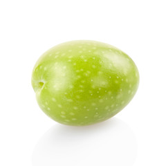 Green olive on white, clipping path included