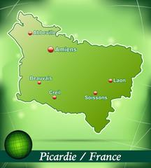 Inselkarte von Picardie Abstrakter Hintergrund in Grün