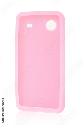 Smartphone back cover in silicone on white, clipping path