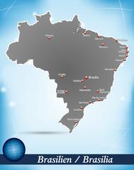 Inselkarte von Brasilien Abstrakter Hintergrund in Blau