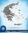 Inselkarte von Griechenland Abstrakter Hintergrund in Blau