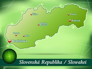 Inselkarte von Slowakei Abstrakter Hintergrund in Grün