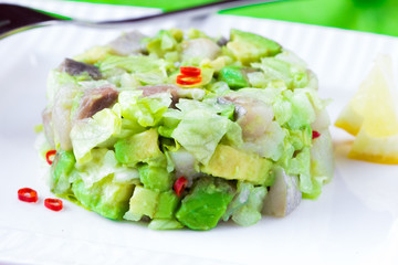 Elegant salad Tartar with herring, avocado, lettuce, restaurant
