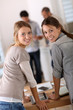 Student girls doing internship in company