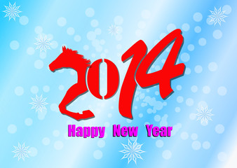 New Year Horse 2014.Vector template