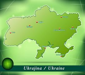 Inselkarte von Ukraine Abstrakter Hintergrund in Grün