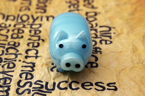 Piggy bank and success concept