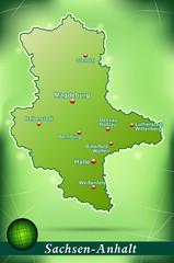 Inselkarte von Sachsen-Anhalt Abstrakter Hintergrund in Grün