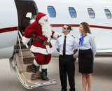 Santa Thanking Pilot And Airhostess While Disembarking Private J