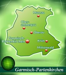 Inselkarte von Garmisch-Partenkirchen Abstrakter Hintergrund in