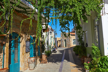 Traditional street scene in village, Crete, Greece.