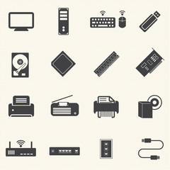 Computer infrastructure and  Computer Accessories Icons with tex