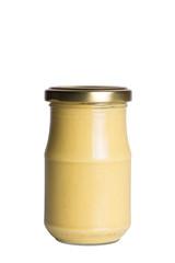 jar of mustard isolated on white background